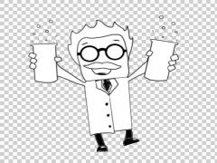 Mad Scientist 02 holding both hands illustration hand drawn sketch Stock Footage