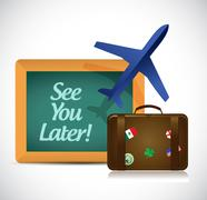 see you later blackboard travel sign - stock illustration