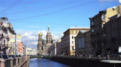 Cathedral of the Resurrection of Christ, Griboyedov channel, Saint Petersburg Stock Footage