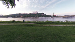 Bratislava castel and donau Stock Footage