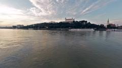 Bratislava castle, Aerial steady shot Stock Footage