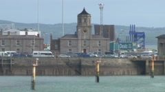 Port Building & Clock Tower Stock Footage