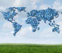 global cloud technology - stock illustration