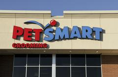 pet smart sign on a store front - stock photo