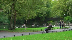 Stock Video Footage of Lush Public Park Scene