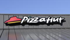 Pizza hut sign on a store front Stock Photos