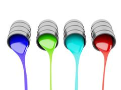 spilled paint cans on white background - stock illustration