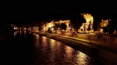 River at night. City ​​of Nis, Serbia. Stock Footage