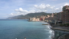 View of Camogli, small town in northern Italy Stock Footage