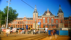 City center, pedestrians in front of Central Station Amsterdam, time lapse,4k Stock Footage