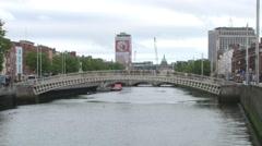 Dublin Ha'Penny Bridge Stock Footage