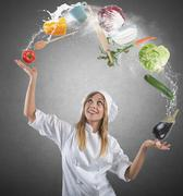 juggler chef - stock photo