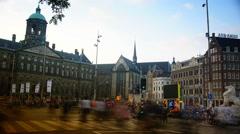 4k  Amsterdam palace dam square. Stock Footage