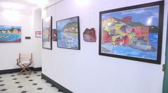Paintings exhibited in art gallery Stock Footage