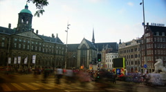 Amsterdam palace dam square. Stock Footage