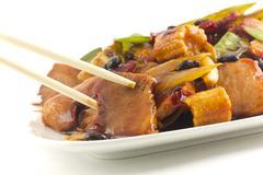 chinese black bean pork takeout - stock photo