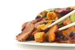 Chinese black bean pork takeout Stock Photos