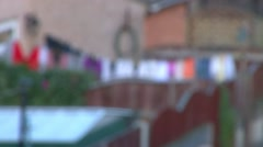 Clothes Hanging on Washing Line Stock Footage
