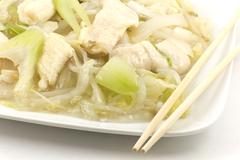 Chicken and soybean chow mein Stock Photos