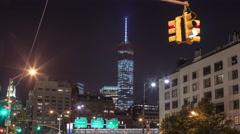 Freedom Tower Timelapse Lower Manhattan New York City NYC Night 4K Stock Footage