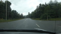 Rainy drive in Muskoka county. Oncoming traffic. Stock Footage