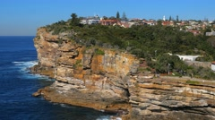 Panning shot of The Gap lookout and Sydney Harbour, South Head, Sydney Stock Footage