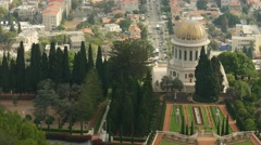 Haifa - Israel - Lower City / Baha'i Gardens - 30P - UHD 4K Stock Footage