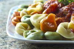 Stock Photo of tri-color tortellini