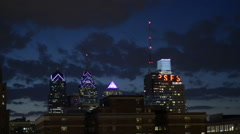 Philadelphia Skyline at Dusk 50mm Stock Footage