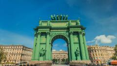 Narva Triumphal Arch in Saint Petersburg. Time Lapse Stock Footage