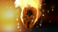 Burning skull. Alpha matted Stock Footage