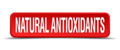 Natural antioxidants red 3d square button isolated on white Stock Illustration