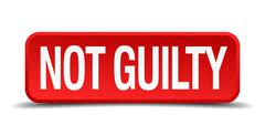 Not guilty red 3d square button isolated on white Stock Illustration