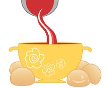 tomato soup and bread rolls - stock illustration