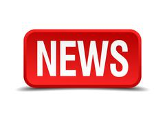 News red 3d square button isolated on white Stock Illustration