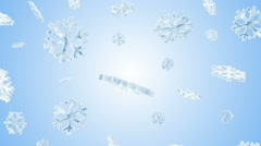 Icy Snowflakes Falling on Blue Background Stock Footage