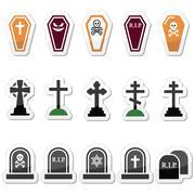 Halloween-graveyard-labels-set-colour Stock Illustration