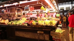 Fruit shop at indoor market Stock Footage