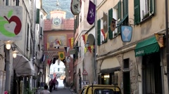 Europe Italy Liguria region Finalborgo village 022 alley inside of city gate Stock Footage