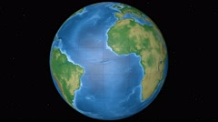 Physical World Globe - Equatorial. 4K. Stock Footage