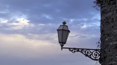 Vintage street lamp in the medieval Erice city. Sicily Stock Footage