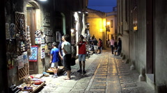 Souvenir shops of the medieval Erice city. Sicily, Italy. Stock Footage