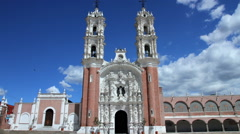 Ocotlan's church. Tlaxcala, Mexico-August 2014. TIME LAPSE-ZOOM OUT. Stock Footage