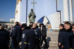 police from lviv arrived in kiev to join euromaidan - stock photo