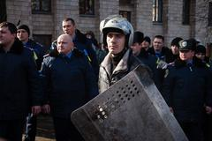 Police from lviv arrived in kiev to join euromaidan Stock Photos