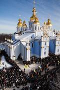 Requiem on euromaidan activist michail zhiznevsky Stock Photos
