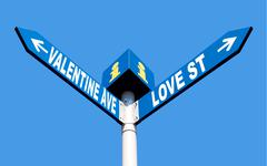 Valentine ave and love st Stock Photos