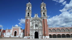 Ocotlan's church. Tlaxcala, Mexico-August 2014. TIME LAPSE-ZOOM IN. Stock Footage