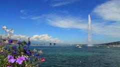 Jet d'eau in Geneva Stock Footage