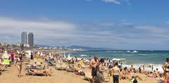 Barceloneta beach - one of the most popular beaches in the city of Barcelona Stock Photos